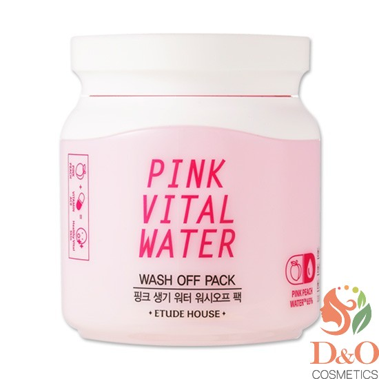 Маска для лица с экстрактом персика. PINK VITAL WATER WASH OFF PACK 100 мл.