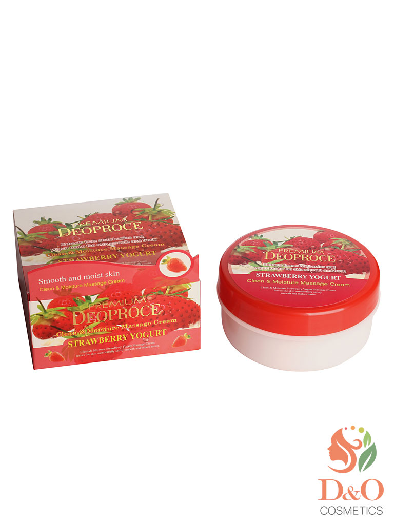 PREMIUM Крем массажный с экстрактом клубники PREMIUM DEOPROCE CLEAN & MOISTURE STRAWBERRY YOGURT MASSAGE CREAM 300g 300гр